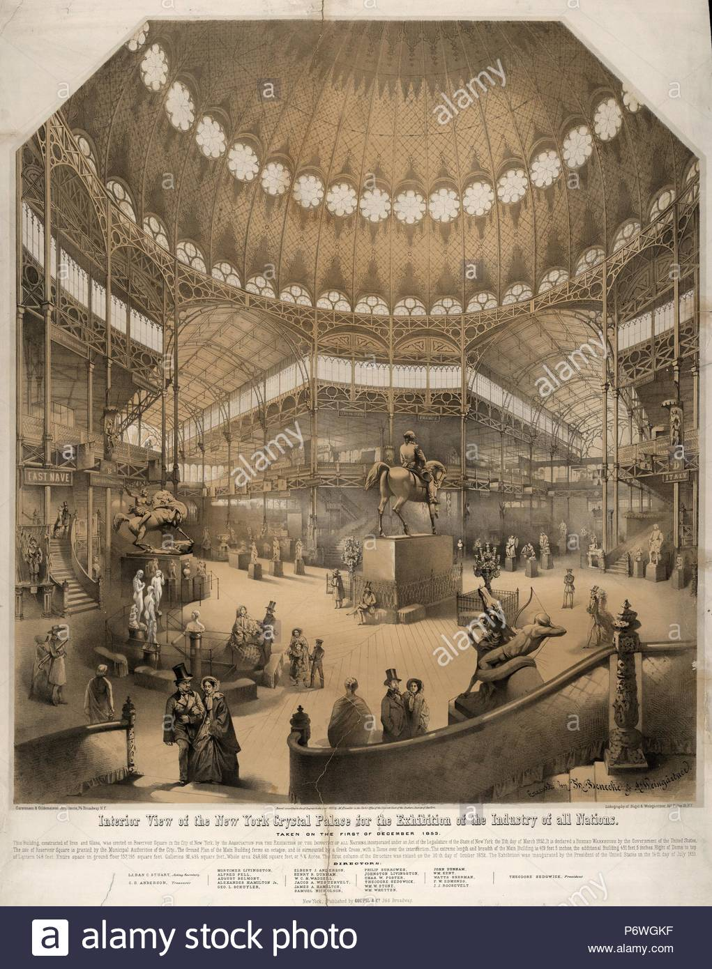 Interior view of the New York Crystal Palace for the exhibition of the industry of all nations; Nagel & Weingärtner, printmaker; New York : Goupil & Co., c1853.; 1 print : lithograph with 2 tint stones ; 40 1/8 x 29 3/4 in. - Stock Image