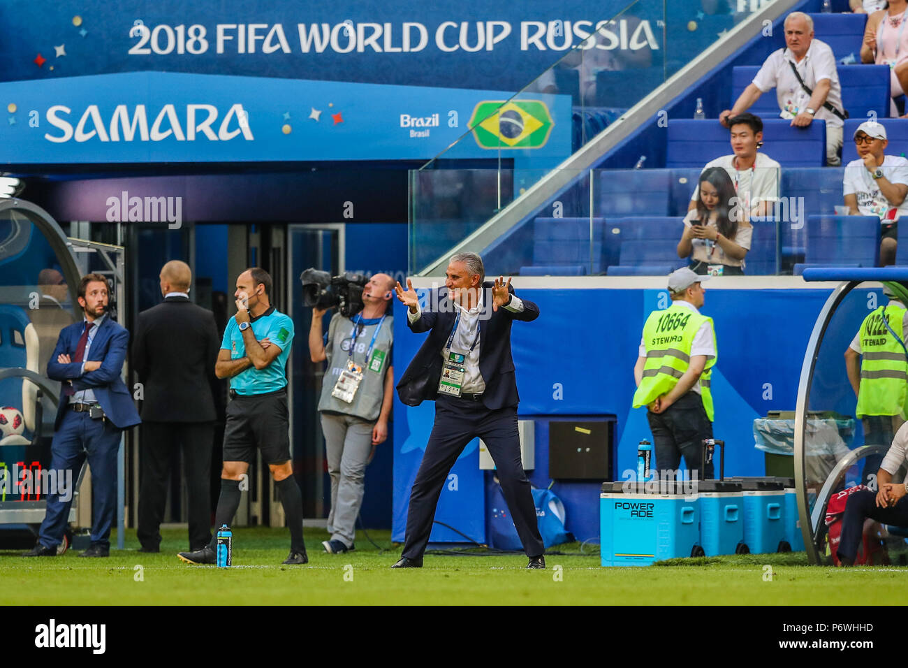 Samara, Russia. 2nd July, 2018. Tite couch of Brazil during match against Mexico game valid for the eighth round of finals of the 2014 FIFA World Cup Russia at the Samara Arena in the city of Samara in Russia this Monday, 02.  Photo William Volcov Credit: Brazil Photo Press/Alamy Live News - Stock Image