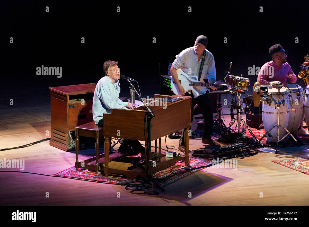 Manchester, UK. 2nd July, 2018. Legendary rock musician Steve Winwood in concert with his band at Bridgewater Hall, Manchester. Winwood has been a member of several famous bands, notably The Spencer Davis Group, Traffic and Blind Faith and also had a successful solo career in the 1980s. Credit: John Bentley/Alamy Live News - Stock Image