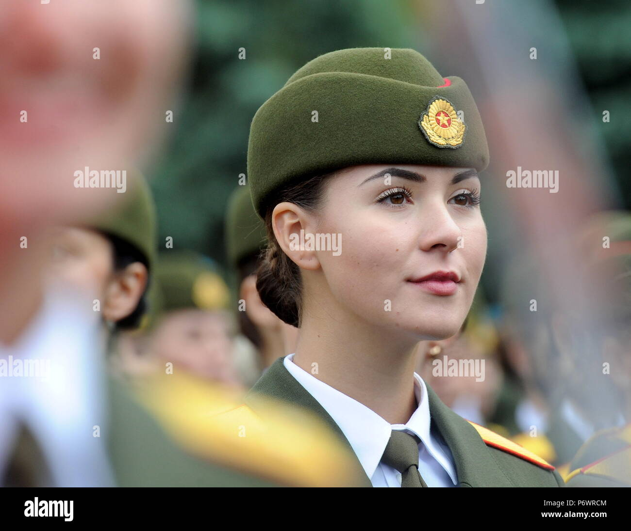 Minsk, Belarus. 03rd July, 2018. MINSK, BELARUS - JULY 3, 2018: Belarusian servicewoman during a military parade marking Belarus Independence Day. Viktor Drachev/TASS Credit: ITAR-TASS News Agency/Alamy Live News - Stock Image