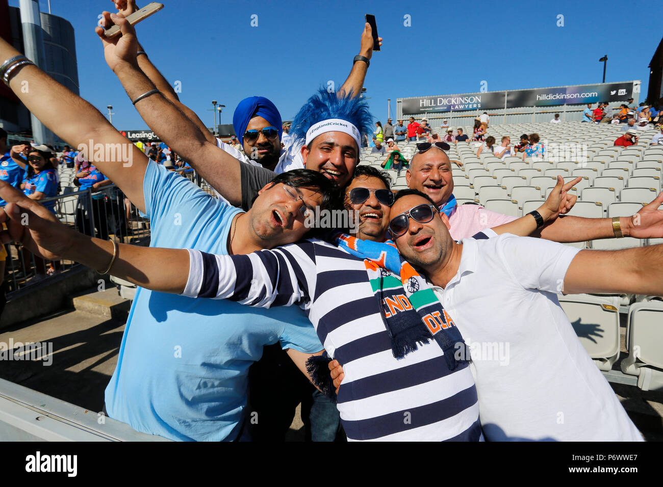 Emirates Old Trafford, Manchester, UK. 3rd July, 2018. International Twenty20 cricket, England versus India; India supporters wait for play to start as the sun shines down on the Emirates Old Trafford Credit: Action Plus Sports/Alamy Live News - Stock Image