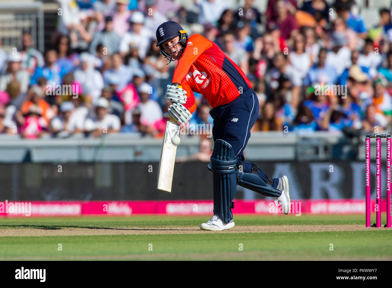 Manchester, UK. 3rd July 2018. Jason Roy of England in action during the 1st International T20 match between England and India at Old Trafford, Manchester, England on 3 July 2018. Photo by Brandon Griffiths. Credit: Brandon Griffiths/Alamy Live News - Stock Image