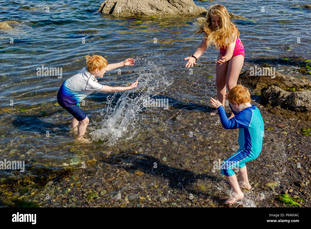 Schull, West Cork, Ireland. 3rd July, 2018. Daniel, Eve and Sam Enright from Dublin cool off in the sea on another blisteringly hot day. The heatwave shows no sign of ending with temperatures forecast to be in the high 20°'s Celsius for at least a week. Credit: Andy Gibson/Alamy Live News. - Stock Image
