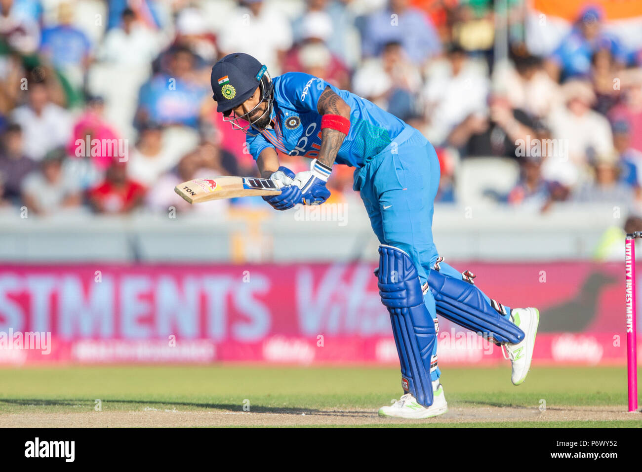 Manchester, UK. 3rd of July 2018 , Emirates Old Trafford, Manchester, England, 1st IT20, Vitality IT20 Series, England v India; KL Rahul of India hits a four Credit: News Images /Alamy Live News - Stock Image