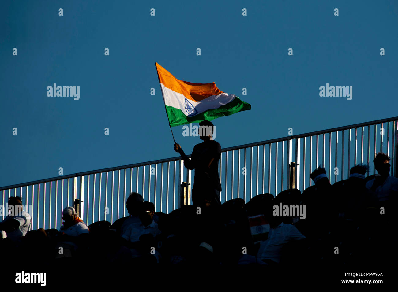 Manchester, UK. 3rd July 2018. An Indian fan in the crows during the 1st International T20 match between England and India at Old Trafford, Manchester, England on 3 July 2018. Photo by Brandon Griffiths. Credit: Brandon Griffiths/Alamy Live News - Stock Image