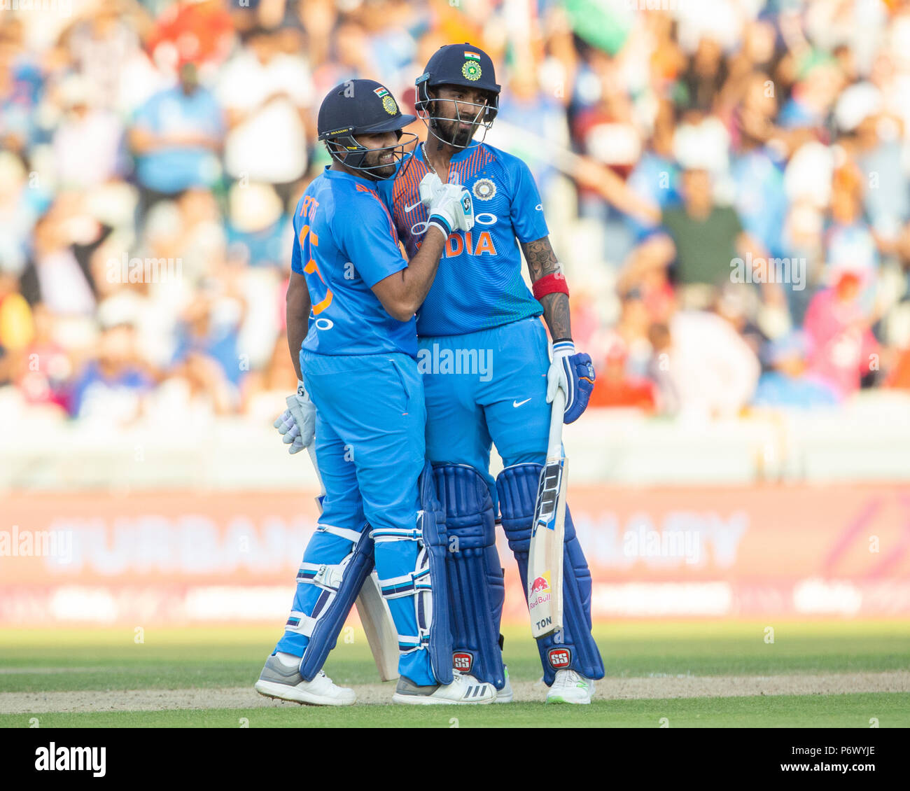 Manchester, UK. 3rd of July 2018 , Emirates Old Trafford, Manchester, England, 1st IT20, Vitality IT20 Series, England v India;KL Rahul of India and Rohit Sharma of India are pushing for a win Credit: News Images /Alamy Live News - Stock Image