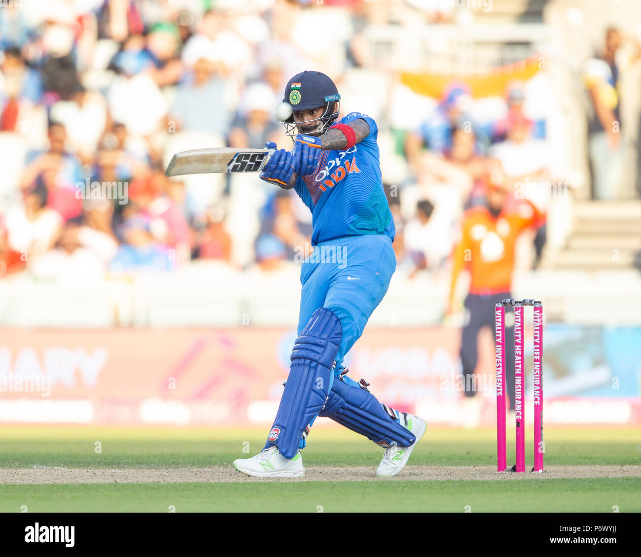 Manchester, UK. 3rd of July 2018 , Emirates Old Trafford, Manchester, England, 1st IT20, Vitality IT20 Series, England v India; KL Rahul of India hits a six Credit: News Images /Alamy Live News - Stock Image