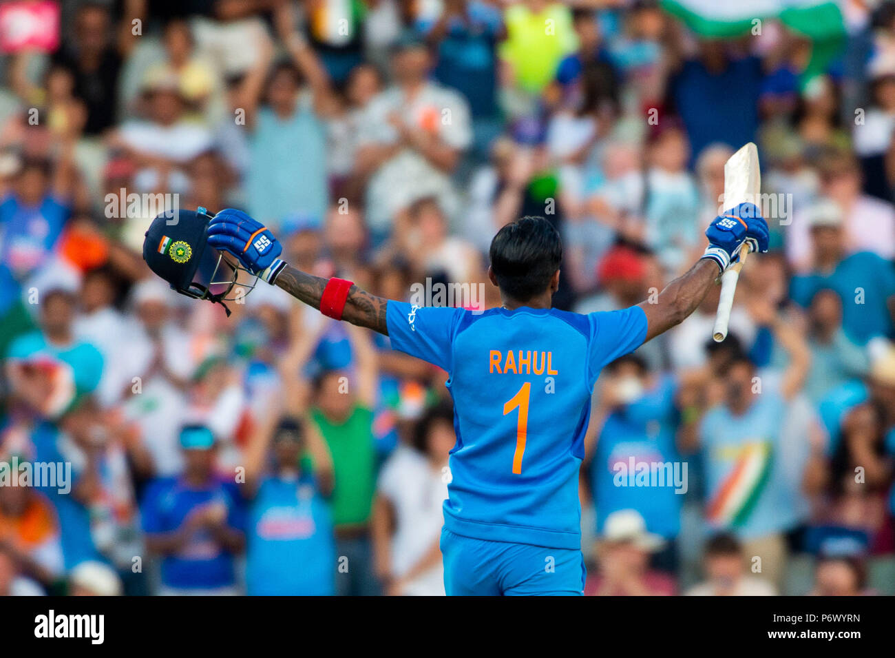 Manchester, UK. 3rd July 2018. Rahul Tripathi of India celebrates his century during the 1st International T20 match between England and India at Old Trafford, Manchester, England on 3 July 2018. Photo by Brandon Griffiths. Credit: Brandon Griffiths/Alamy Live News - Stock Image
