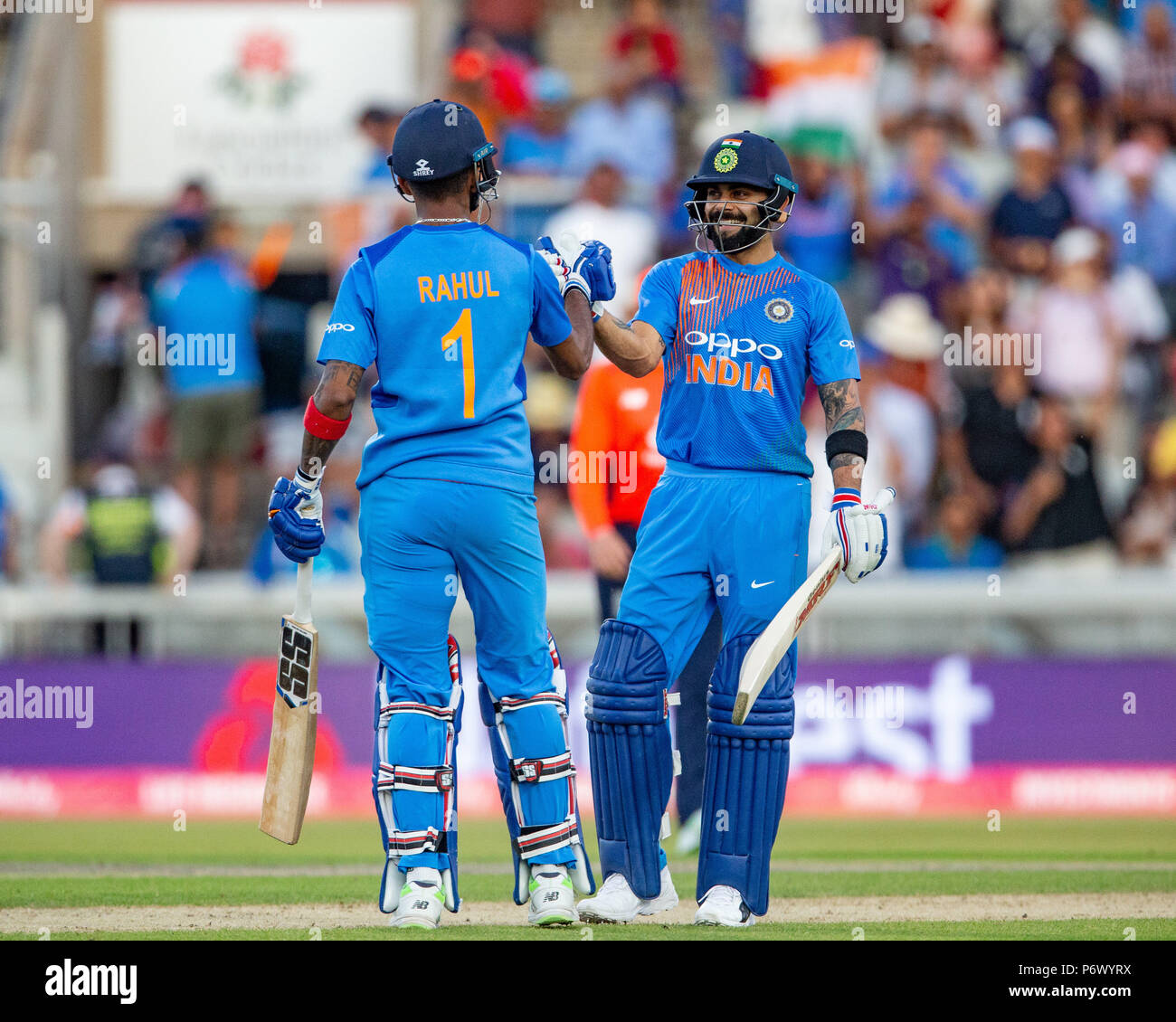 Manchester, UK. 3rd of July 2018 , Emirates Old Trafford, Manchester, England, 1st IT20, Vitality IT20 Series, England v India; Virat Kohli of India and KL Rahul of India celebrates their win over England Credit: News Images /Alamy Live News - Stock Image
