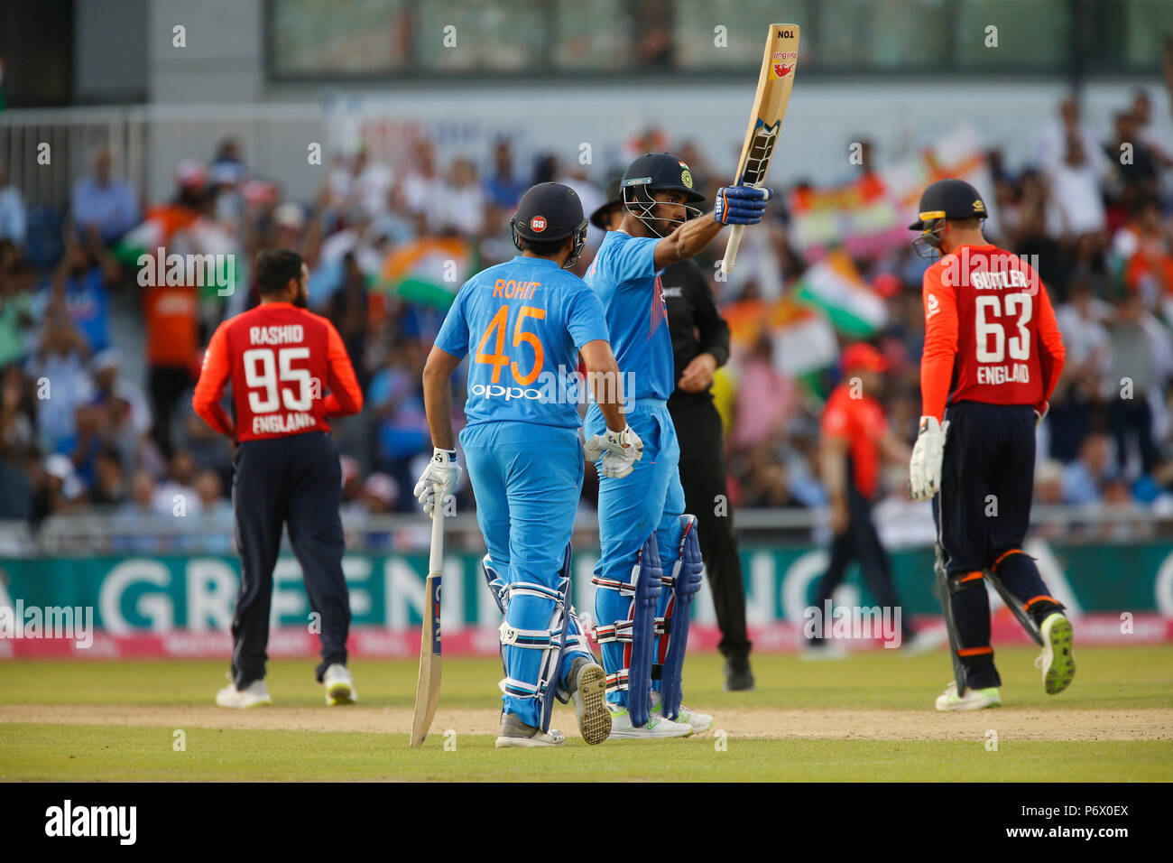 Emirates Old Trafford, Manchester, UK. 3rd July, 2018. International Twenty20 cricket, England versus India; KL Rahul of India acknowledges the crowd's applause as he reaches his half century Credit: Action Plus Sports/Alamy Live News - Stock Image