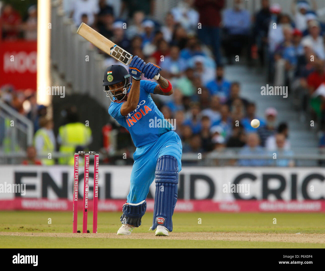 Emirates Old Trafford, Manchester, UK. 3rd July, 2018. International Twenty20 cricket, England versus India; KL Rahul of India hits a straight drive for four on his way to an unbeaten century Credit: Action Plus Sports/Alamy Live News - Stock Image