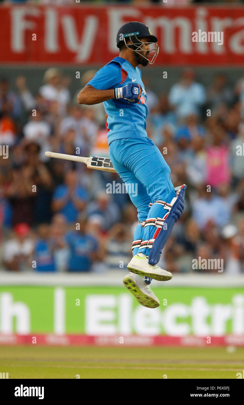 Emirates Old Trafford, Manchester, UK. 3rd July, 2018. International Twenty20 cricket, England versus India; KL Rahul of India celebrates as he reaches his century and guides India to victory Credit: Action Plus Sports/Alamy Live News - Stock Image