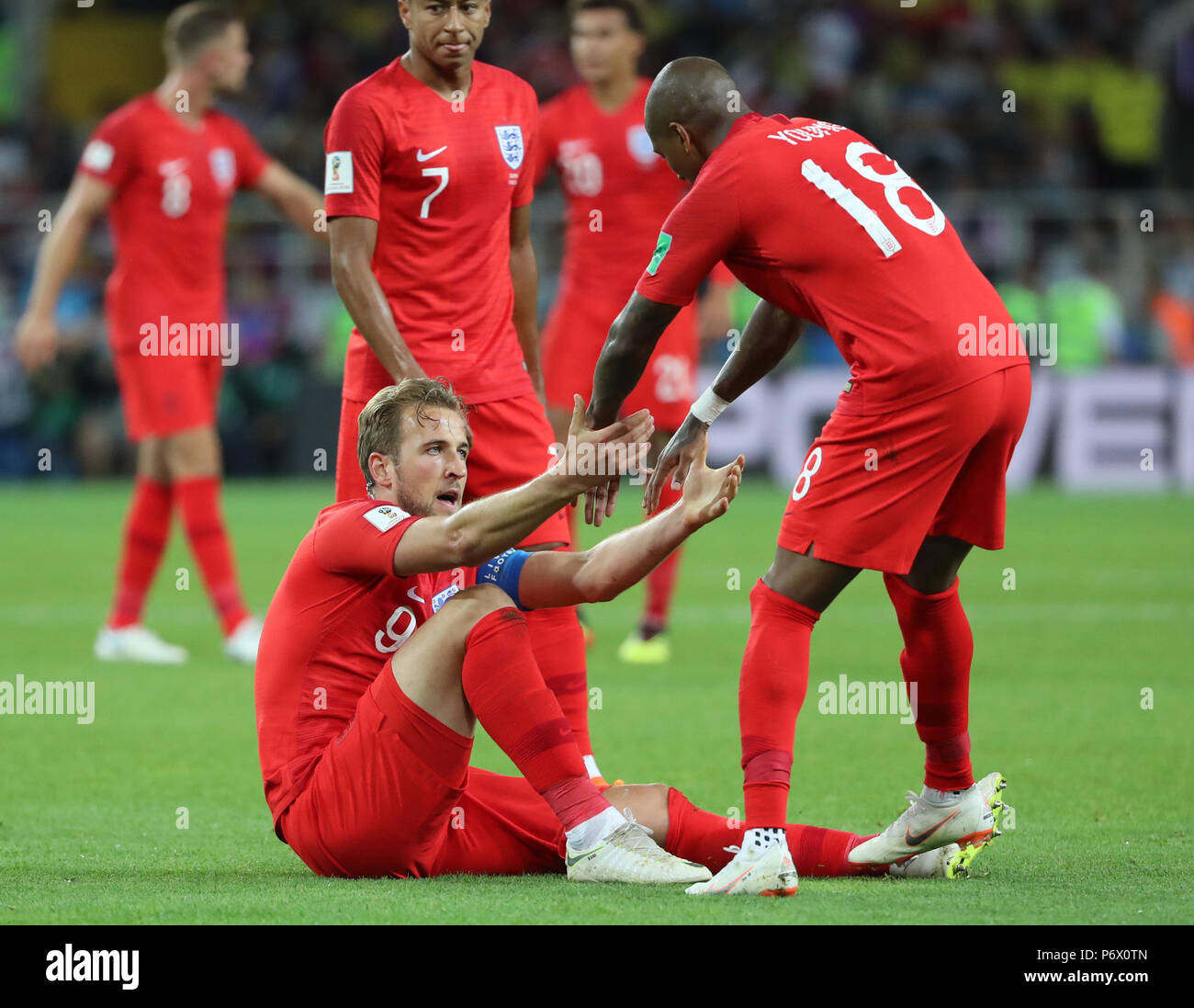 Moscow Russia 3rd July 2018 England S Ashley Young R Front Pulls Up Teammate Harry Kane L Front During The 2018 Fifa World Cup Round Of 16 Match Between England And Colombia In