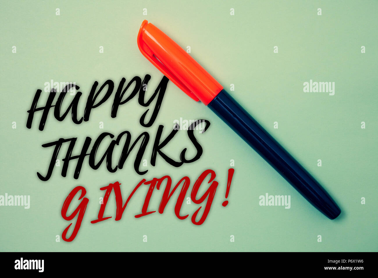 Text sign showing Happy Thanks Giving Motivational Call. Conceptual photo congratulations phrase Holidays Pen cool background Ideas Messages Things re - Stock Image