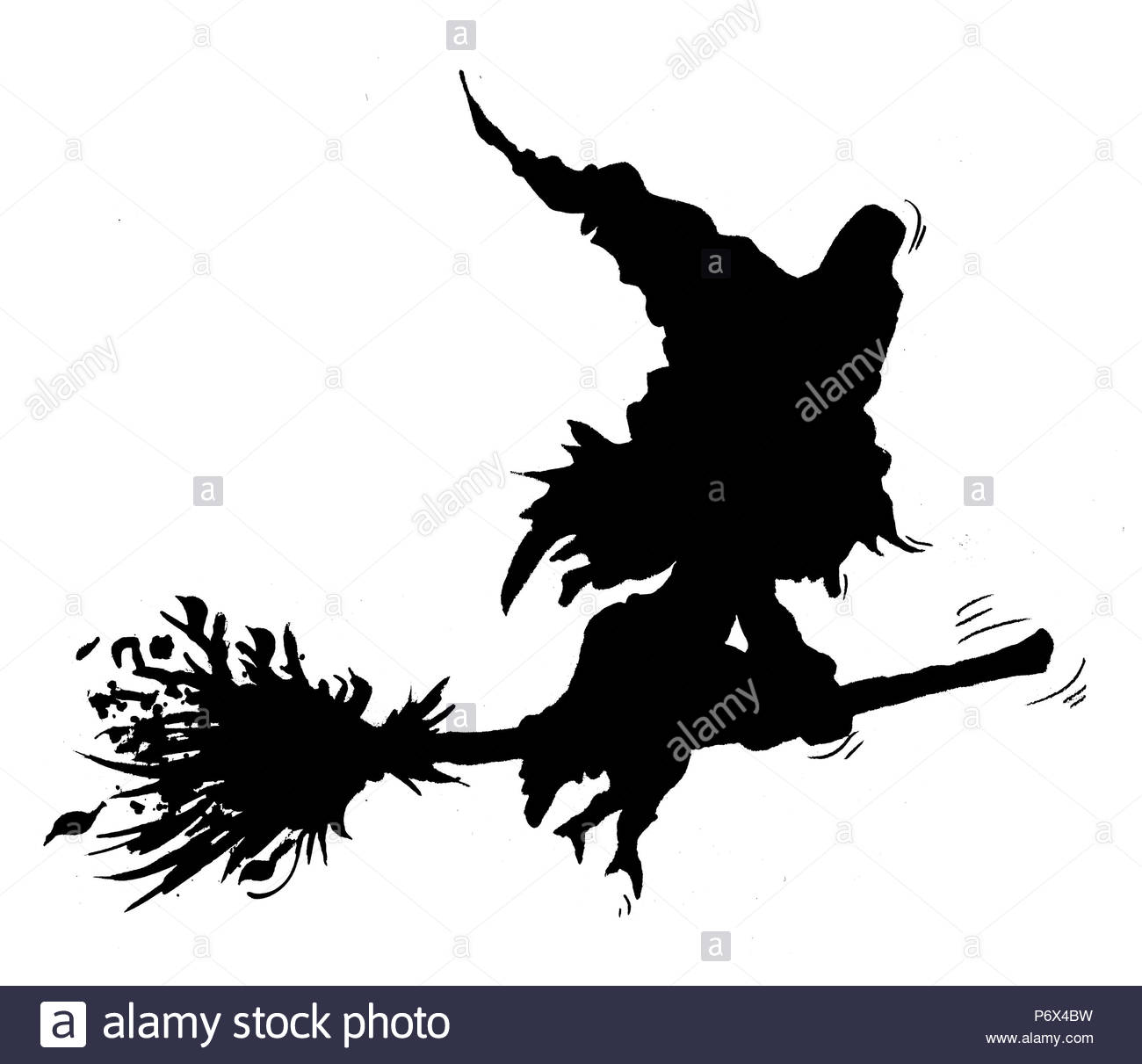 witch with broom silhouette stock photo 210786573 alamy