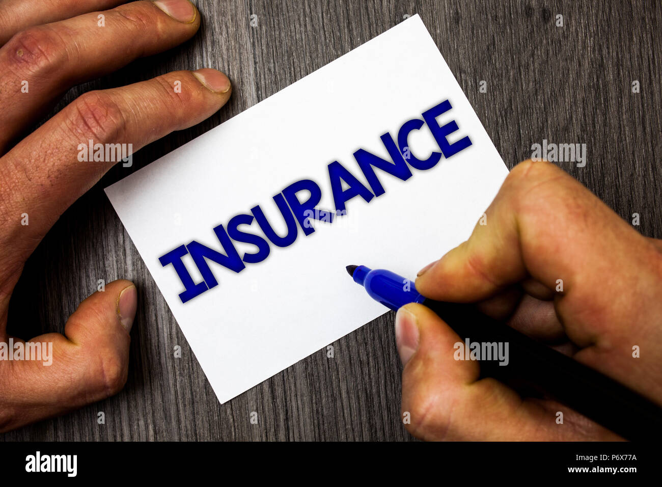 conceptual hand writing showing insurance business photo showcasing policy for financial protection or reimbursement against losses man working holdi