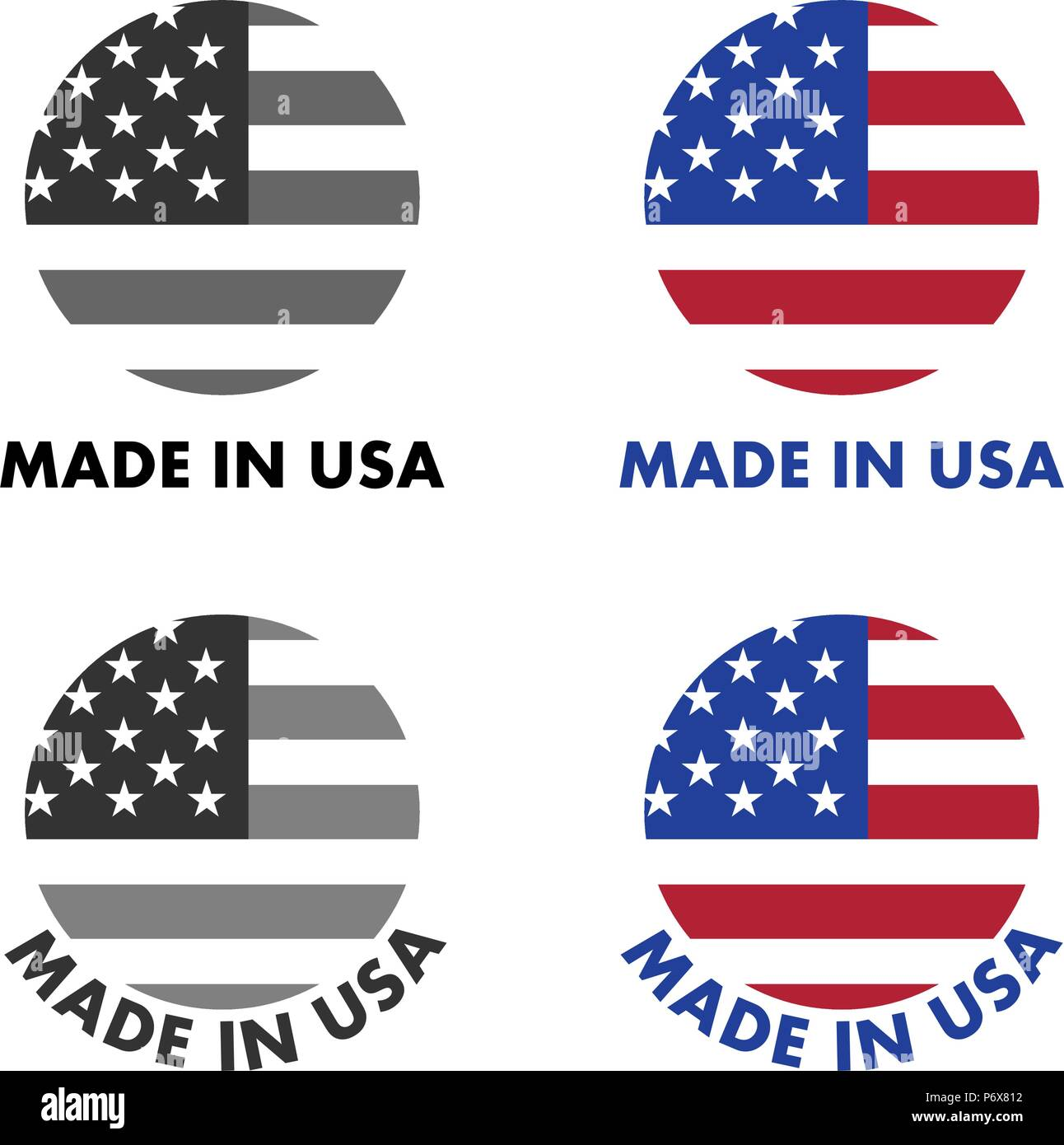 Made in USA label. Red stripes and white stars on blue field, clipped to circle with text below. Black & white / color version. Stock Vector