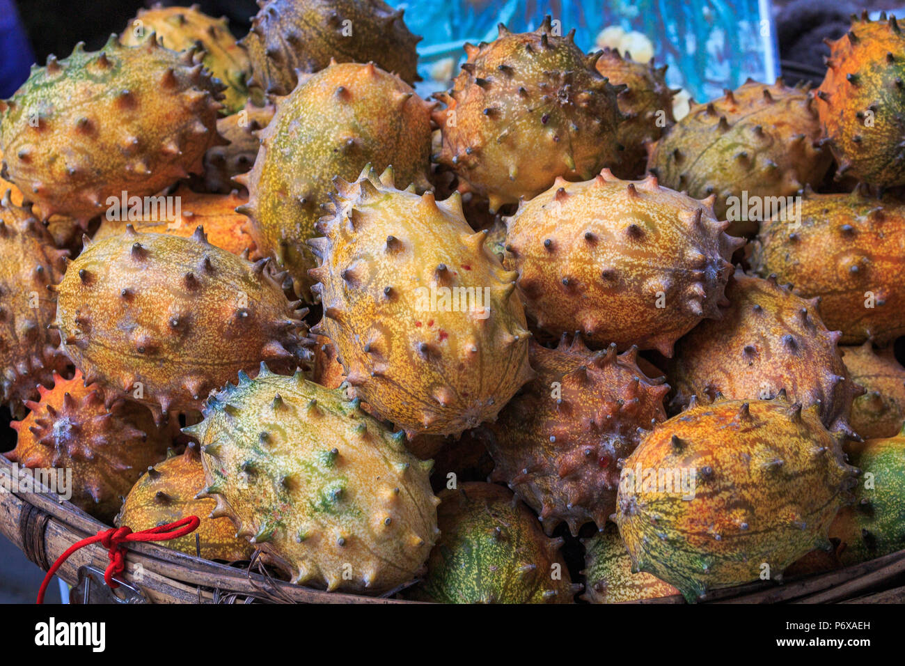 Kivano known as horned melon looks like cucumber on the counter of the Chinese market. - Stock Image