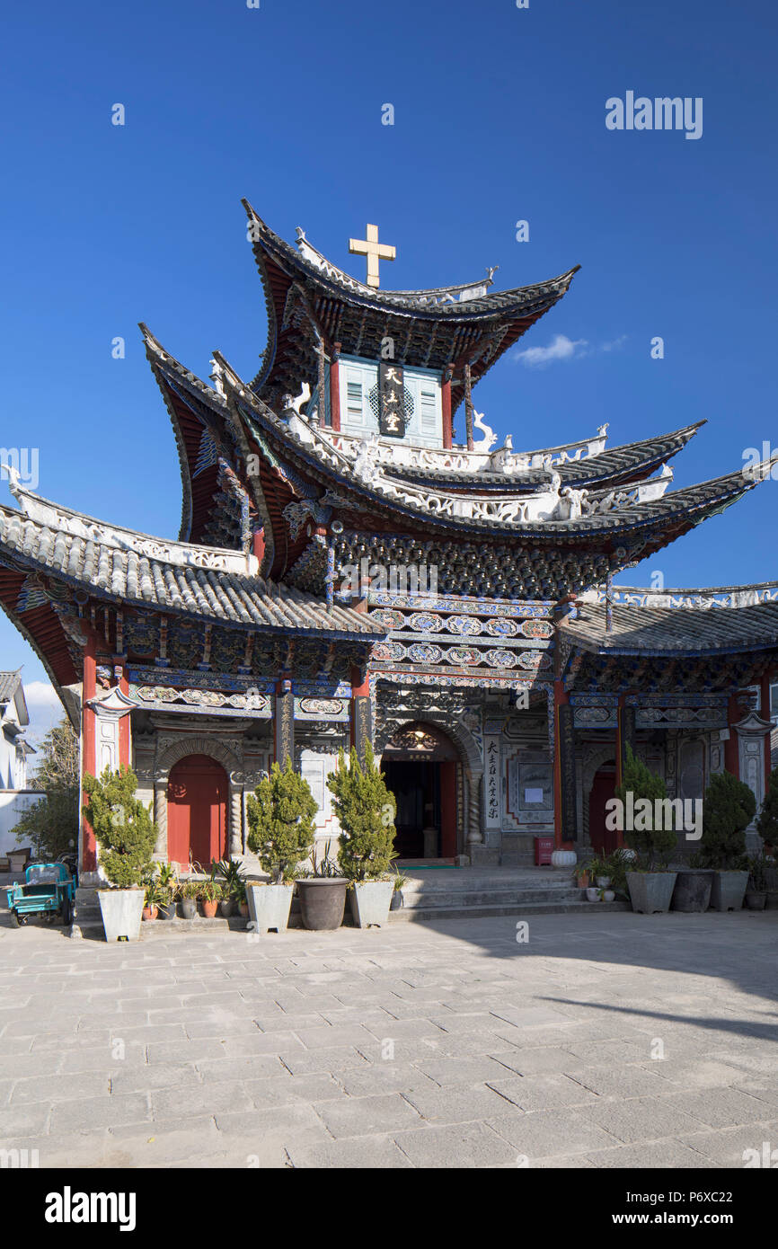 Catholic church, Dali, Yunnan, China - Stock Image