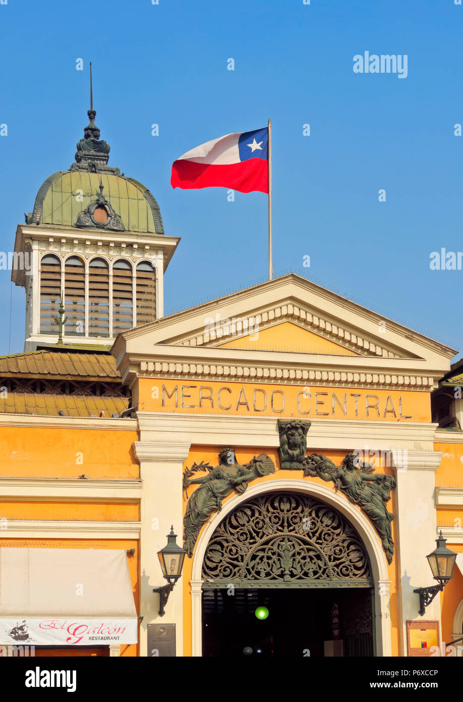 Chile, Santiago, View of the Mercado Central. - Stock Image