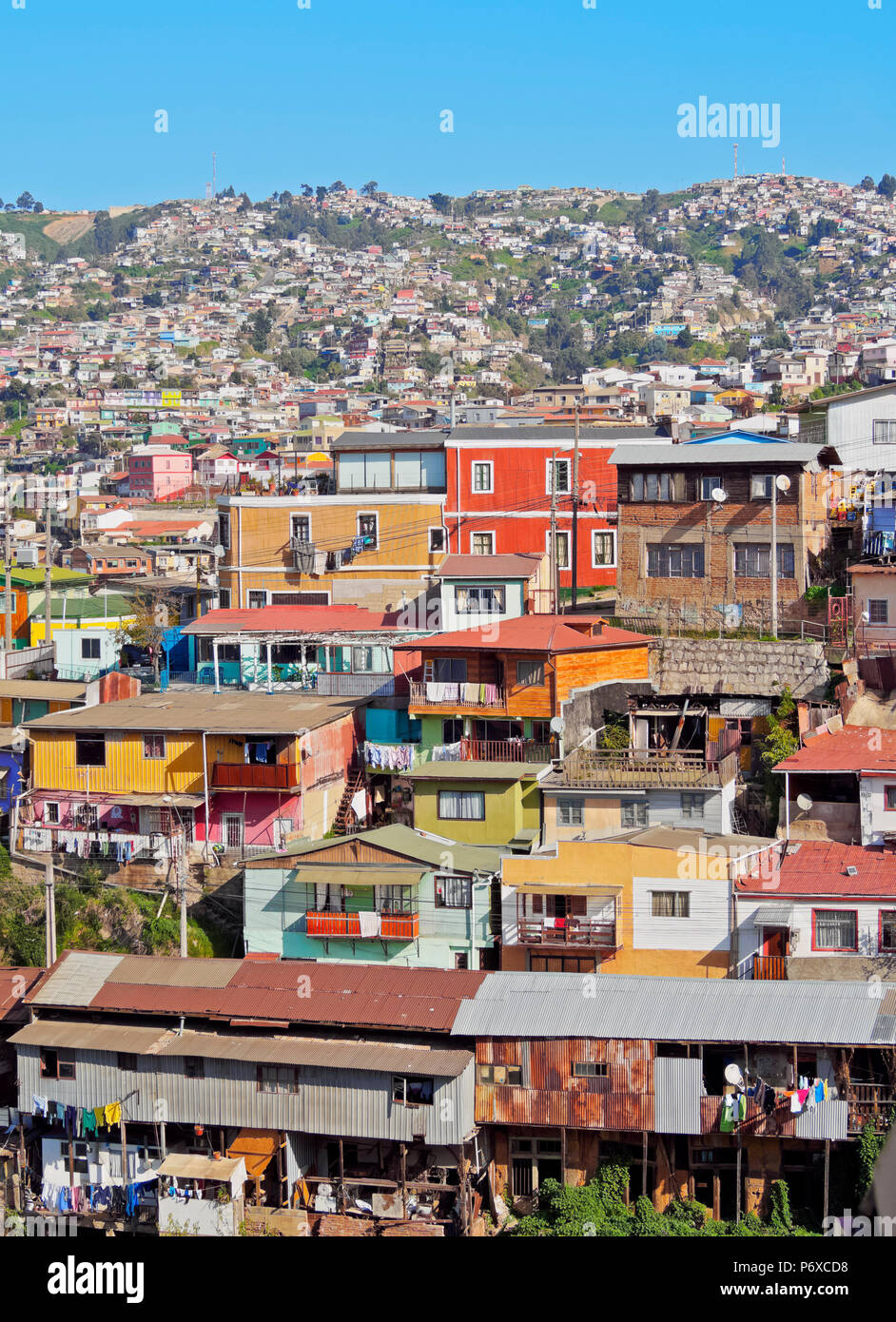 Chile, Cityscape of Valparaiso. - Stock Image