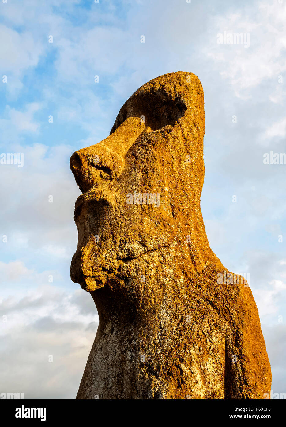 Moai in Ahu Tongariki, Rapa Nui National Park, Easter Island, Chile - Stock Image