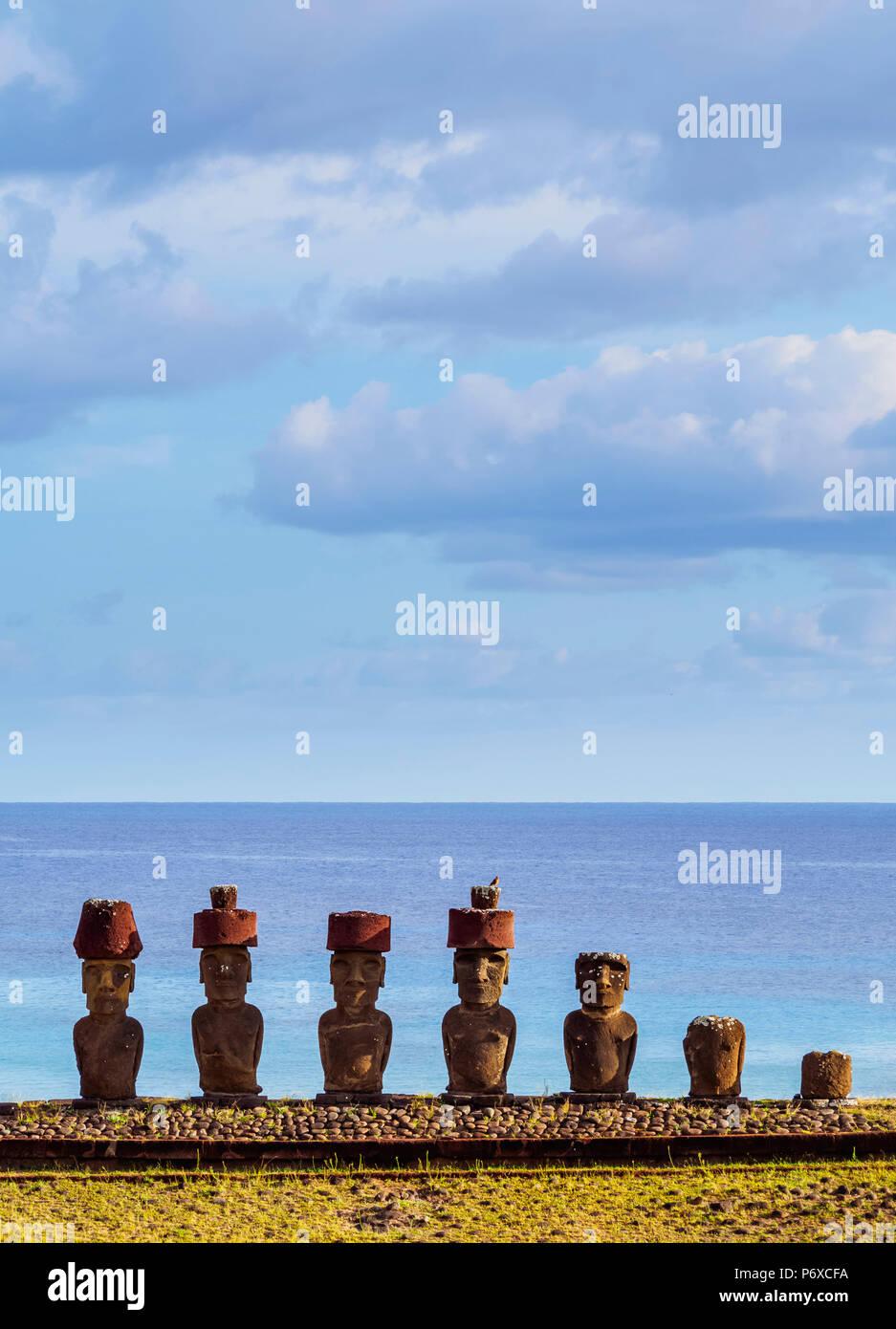 Moais in Ahu Nau Nau by the Anakena Beach, Rapa Nui National Park, Easter Island, Chile - Stock Image
