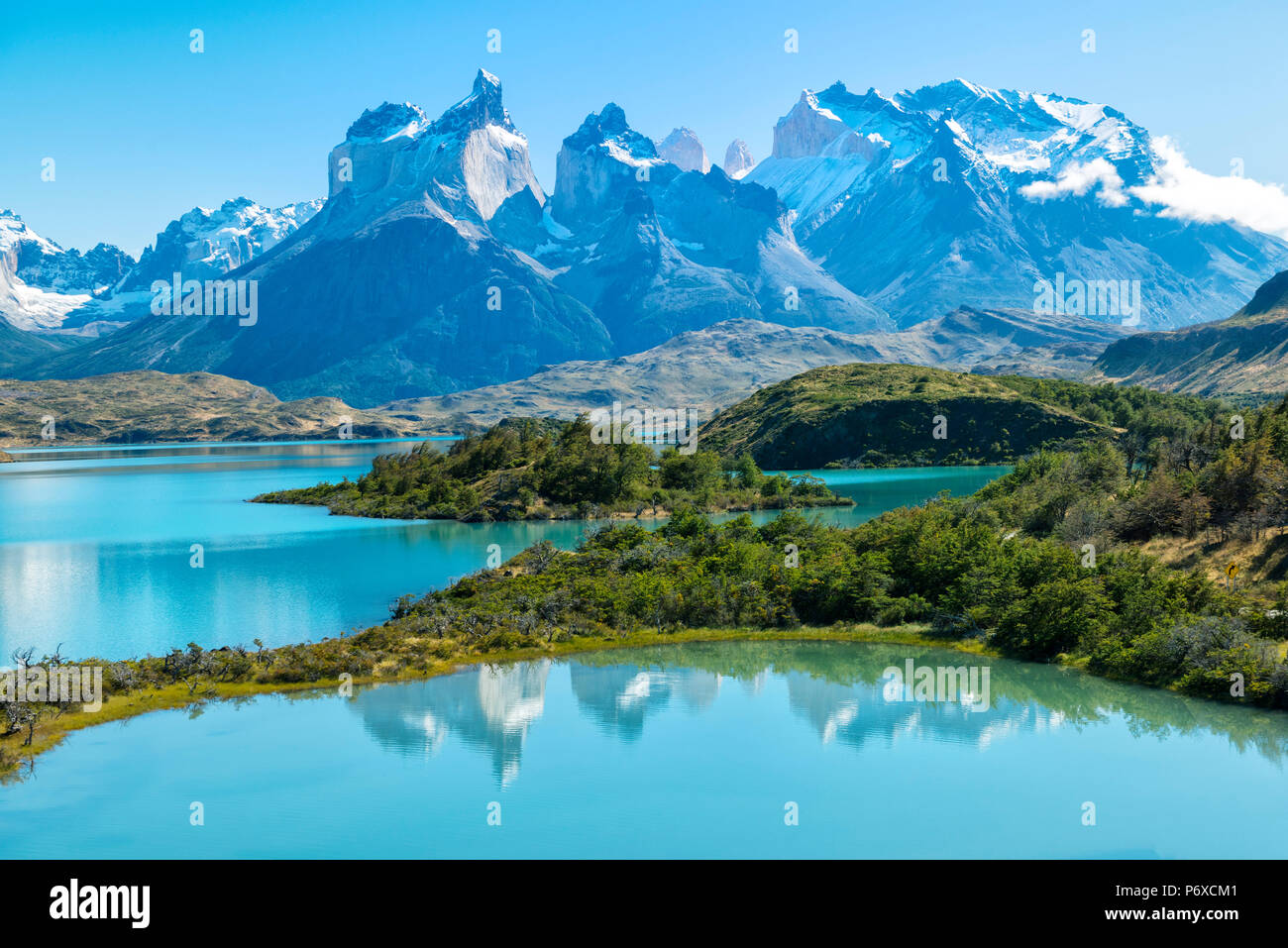 South America, Patagonia, Chile, Region de Magallanes y de la Antartica, Torres del Paine, National Park, Lago Pehoe and Los Cuernos Stock Photo