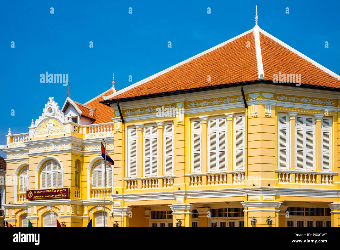 Colonial buildings along the riverfront in Battambang, Cambodia - Stock Image