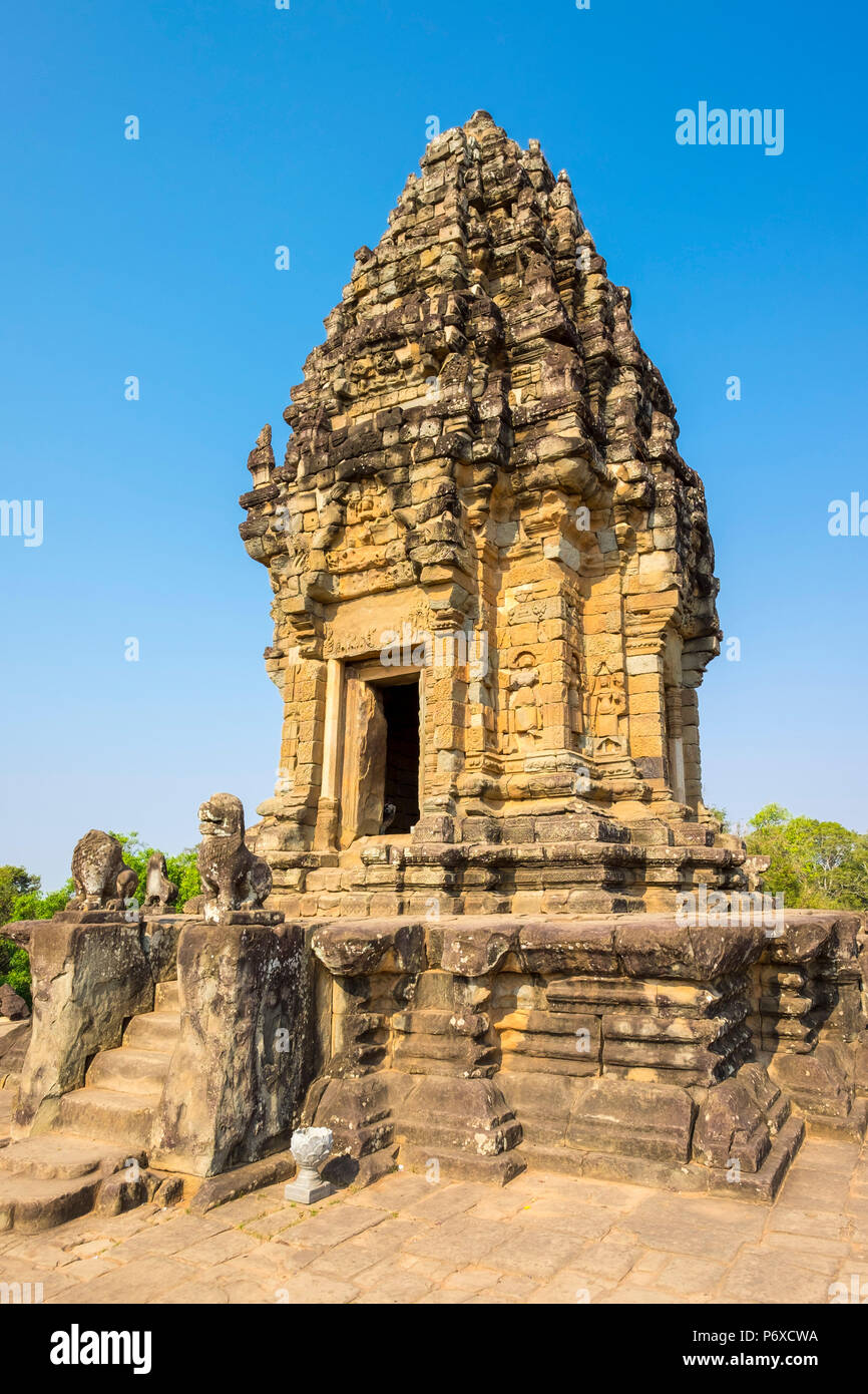 Prasat Bakong temple ruins, Roluos, UNESCO World Heritage Site, Siem Reap Province, Cambodia - Stock Image