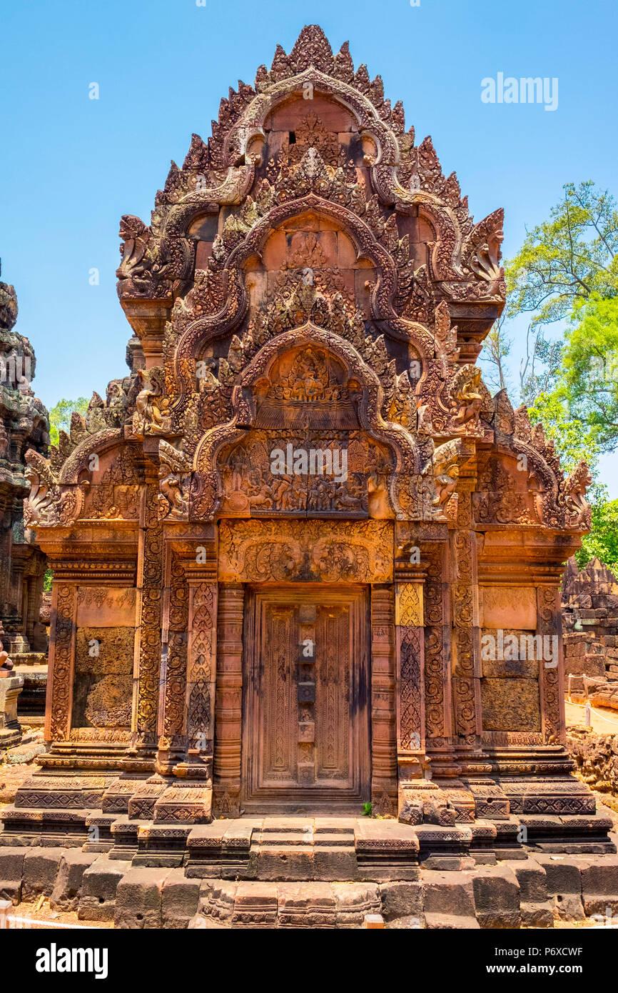 Prasat Banteay Srei temple ruins, UNESCO World Heritage Site, Siem Reap Province, Cambodia Stock Photo