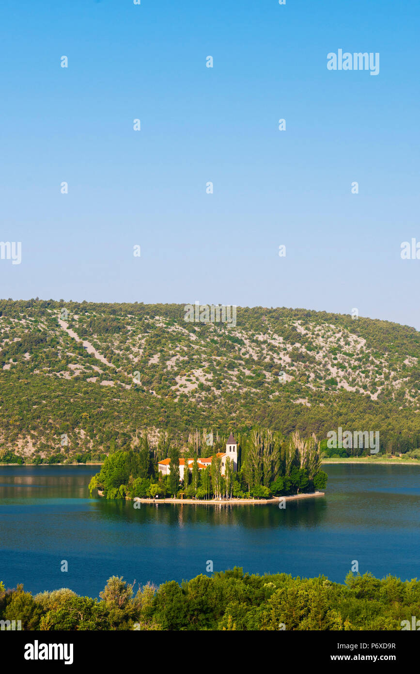 Dalmatia, Croatia, Visovac. The Roman Catholic Franciscan monastery in Krka national park - Stock Image