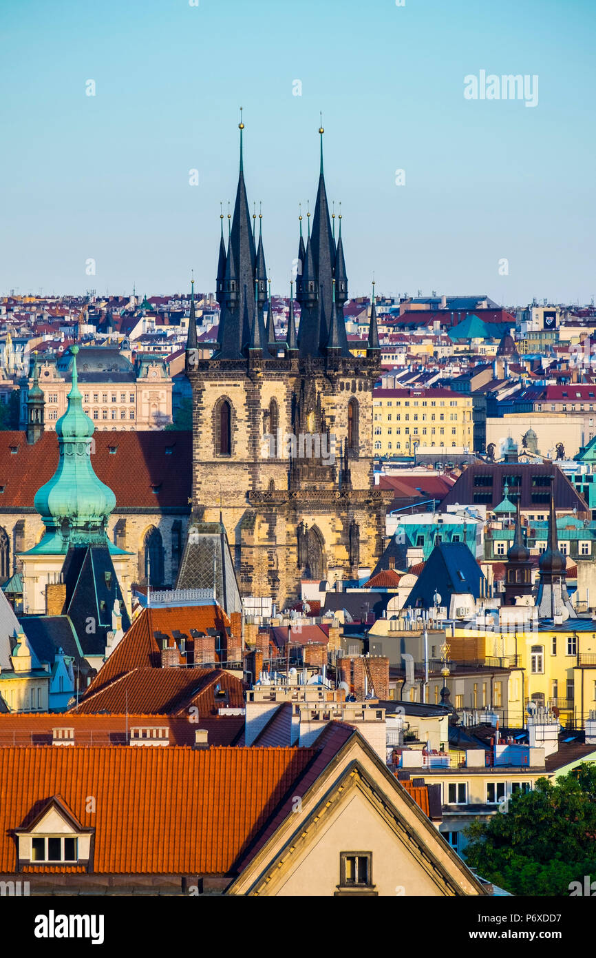 Czech Republic, Prague. View of Mala Strana Old Town from Letna Park, on Letna Hill. Stock Photo