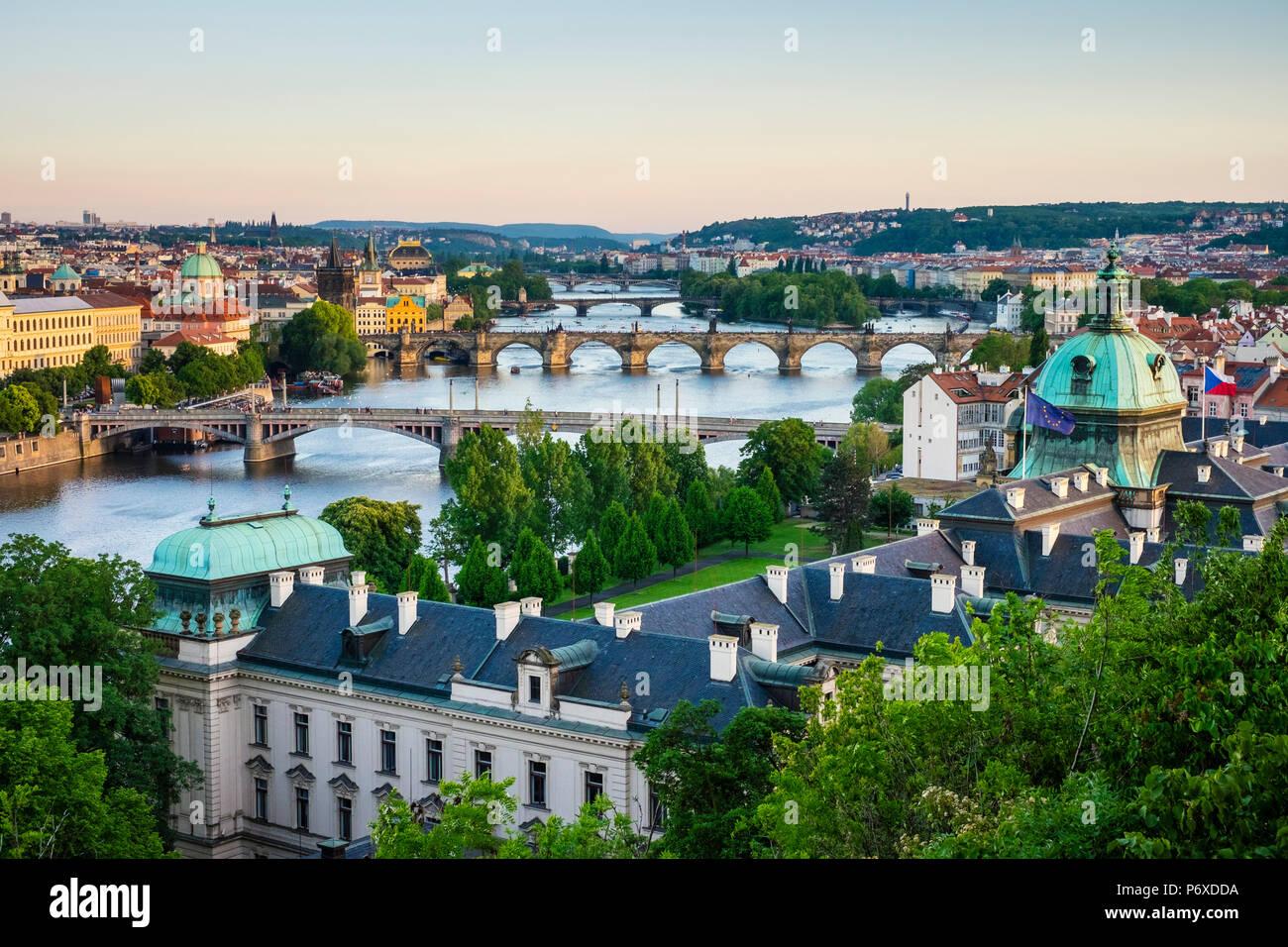 Czech Republic, Prague. View of Prague on the Vltava River from Letna Park, on Letna Hill. Stock Photo
