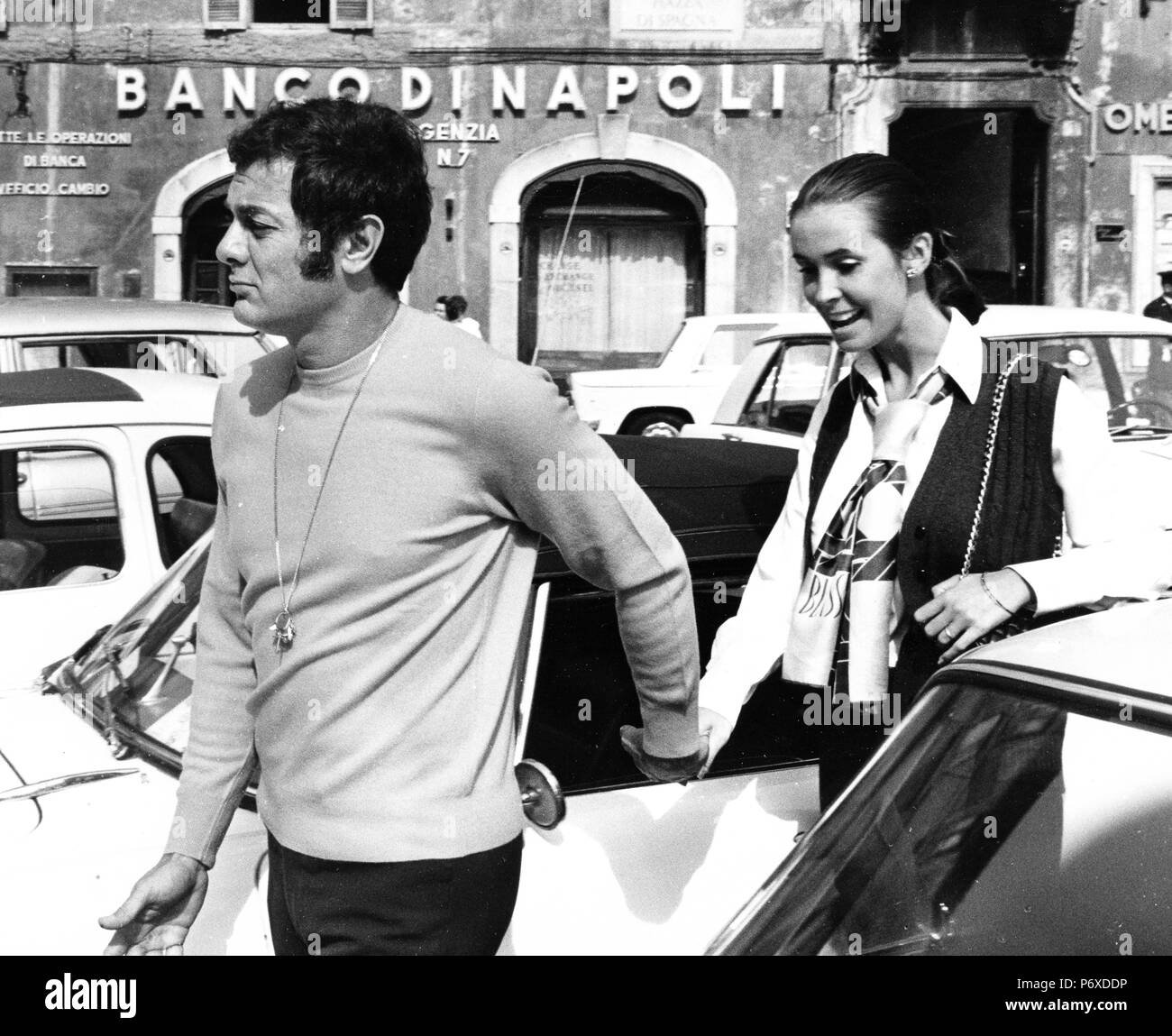 tony curtis, leslie allen, rome 1968 - Stock Image