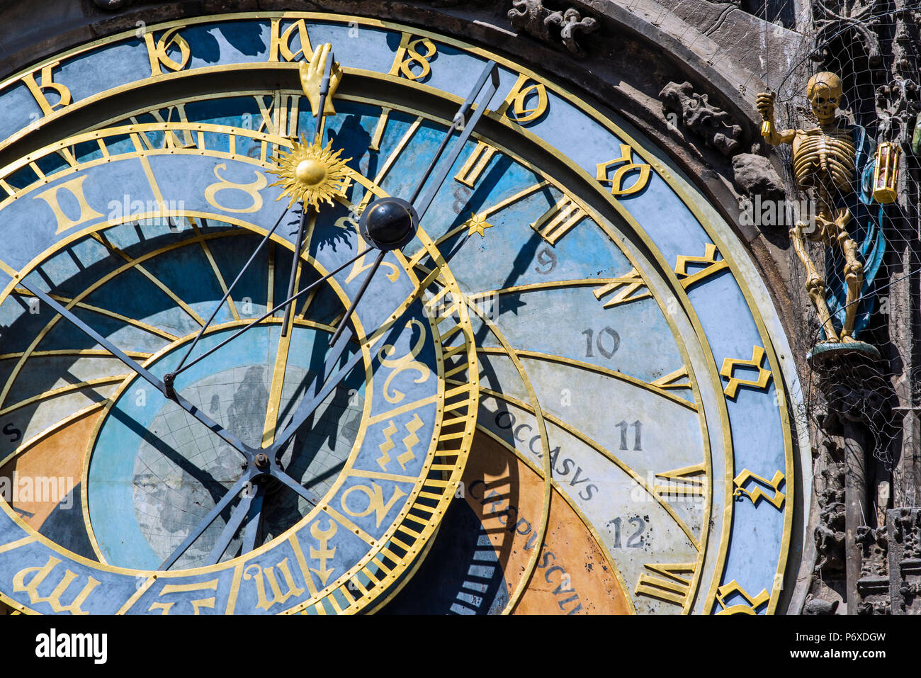 Prague astronomical clock, Prague, Bohemia, Czech Republic - Stock Image
