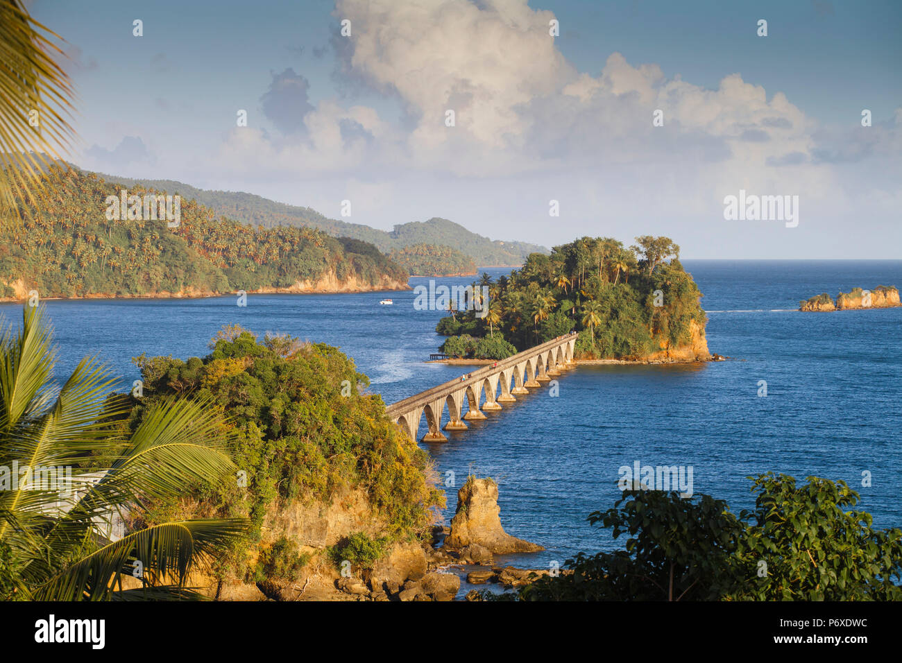 Dominican Republic, Eastern Peninsula De Samana, Semana, View of harbour and Los Puentes - Famous bridge to Nowhere - Stock Image