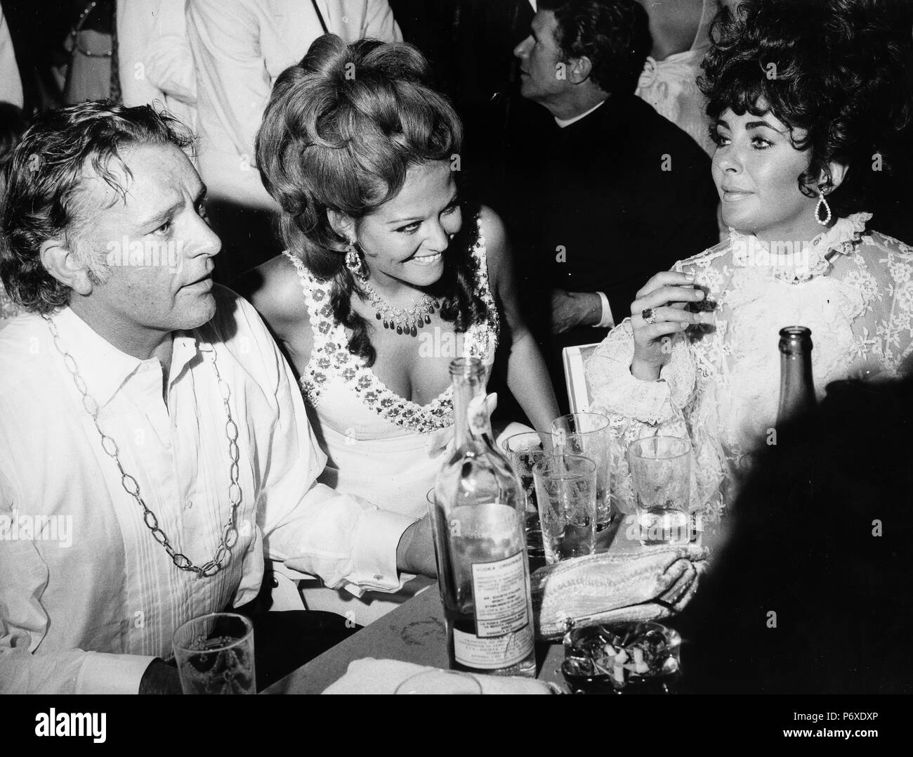 richard burton, claudia cardinale, liz taylor, party, venice film festival 1962 - Stock Image