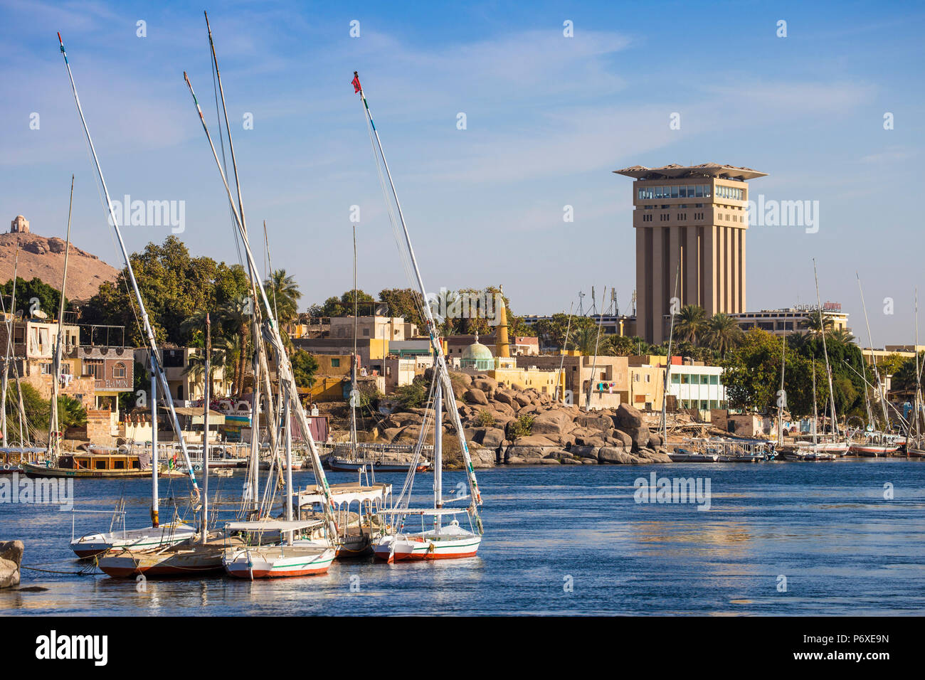 Egypt, Upper Egypt, Aswan, View of Movenpick Resort and River Nile - Stock Image