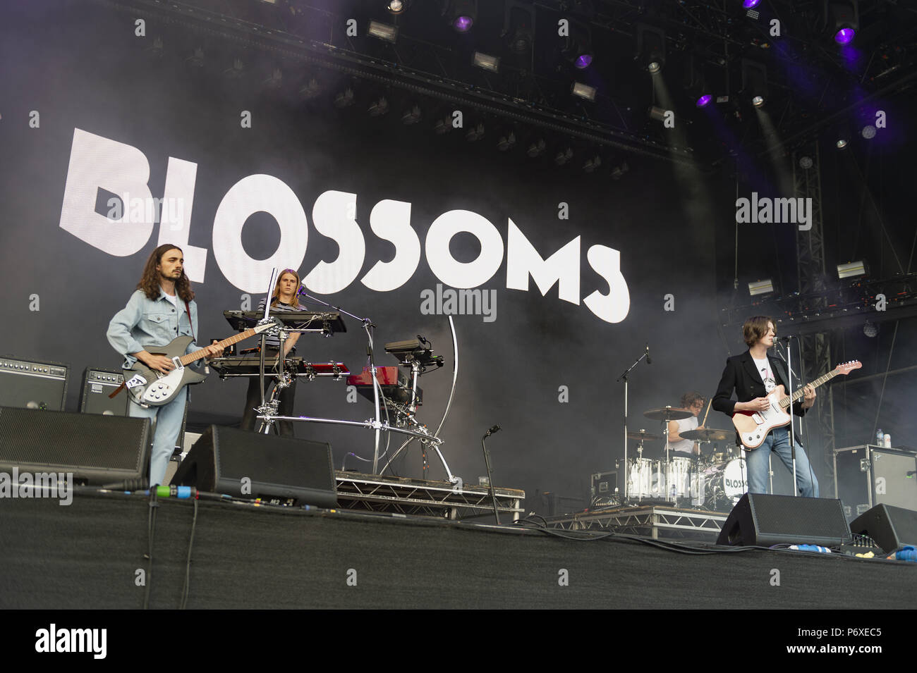 Blossoms perform at All Points East Festival  Featuring: Tom Ogden, Charlie Salt, Josh Dewhurst, Joe Donovan, Myles Kellock Where: London, United Kingdom When: 01 Jun 2018 Credit: Simon Reed/WENN.com - Stock Image
