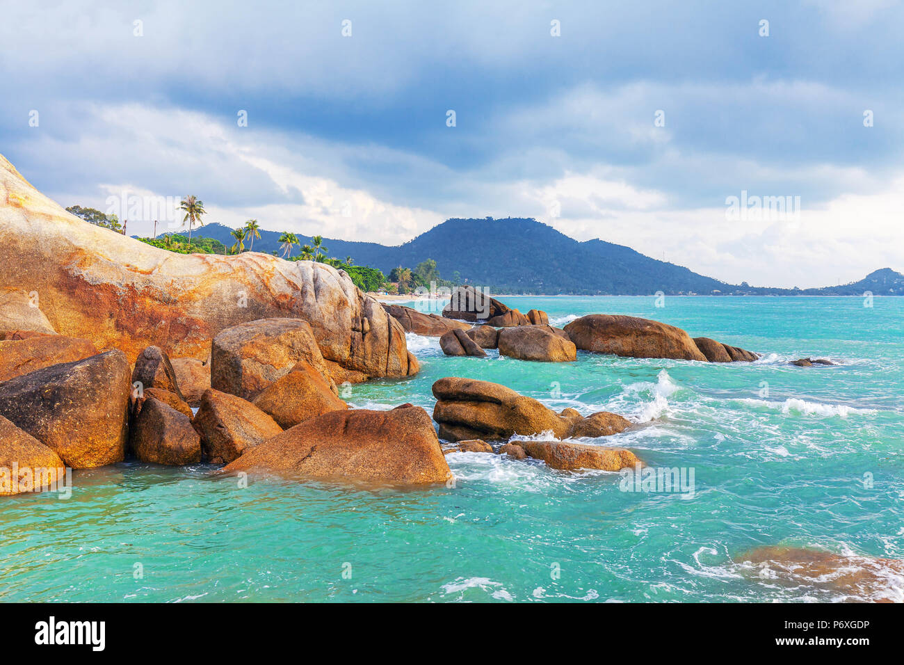 Hin Ta and Hin Yai Rocks. A famous place on the island of Koh Samui in Thailand. - Stock Image