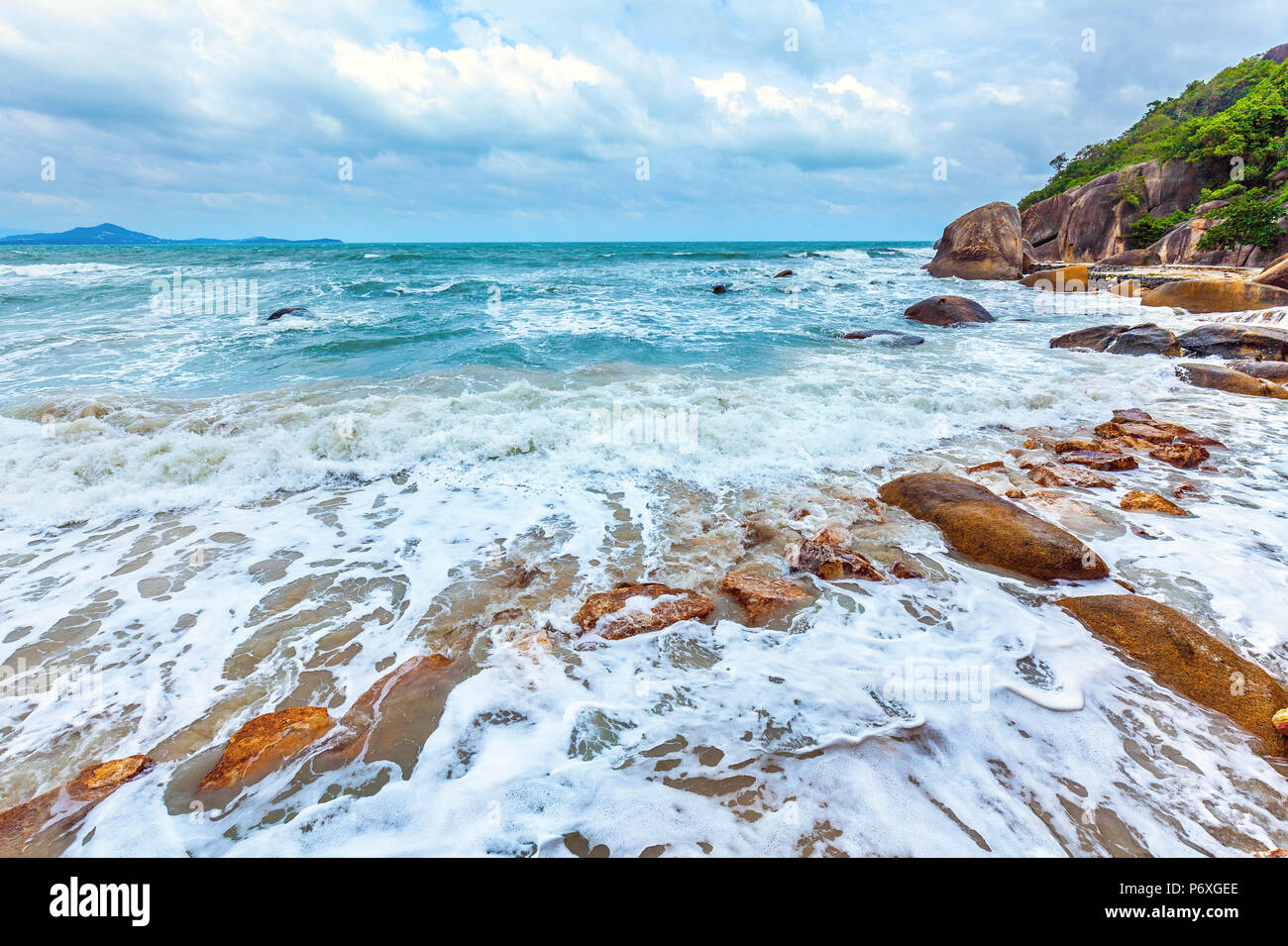 Storm on the Crystal Bay Beach. Koh Samui, Thailand. - Stock Image