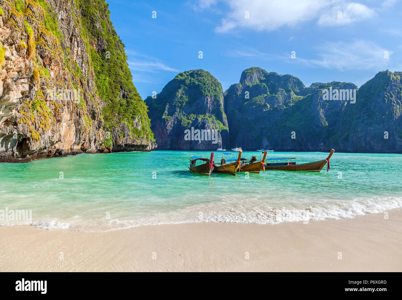 The famous Maya Bay. Krabi Province in Thailand. - Stock Image