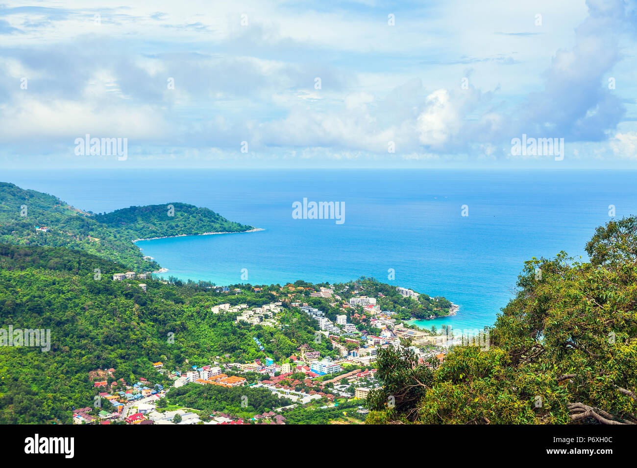 Panorama of Phuket island. In the center of the frame Kata  Beach. - Stock Image