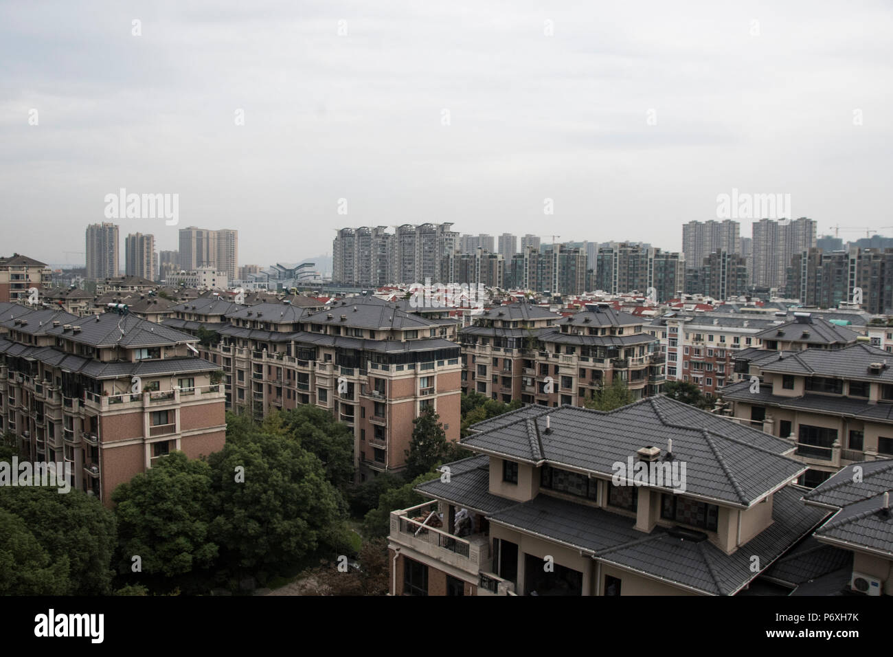 View of Hangzhou, Zeijiang Province, Peoples Republic of China - Stock Image