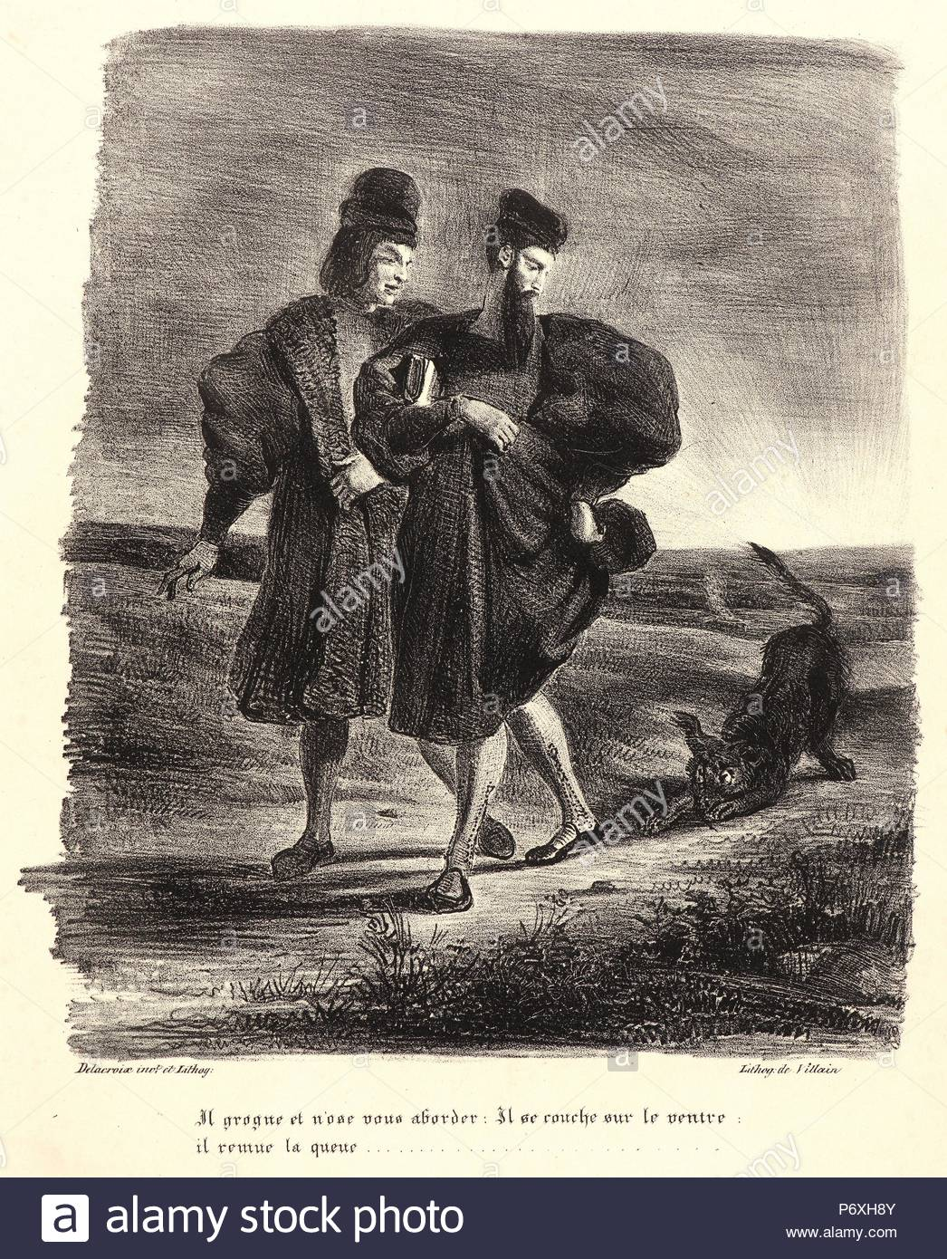Eugène Delacroix (French, 1798 - 1863). Faust, Mephistopheles, and the Water Dog (Faust, Méphistophélès et le barbet), 1828. From Faust. Lithograph. Second of four states. - Stock Image