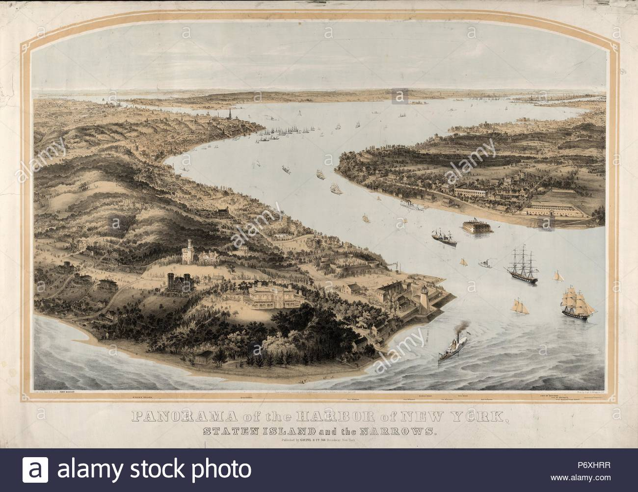 Panorama of the harbor of New York, Staten Island and the narrows; Nagel & Weingärtner, printmaker; New York : Goupil & Co., 1854.; 1 print : lithograph, 2 color ; 40 7/8 x 29 1/2 in. - Stock Image