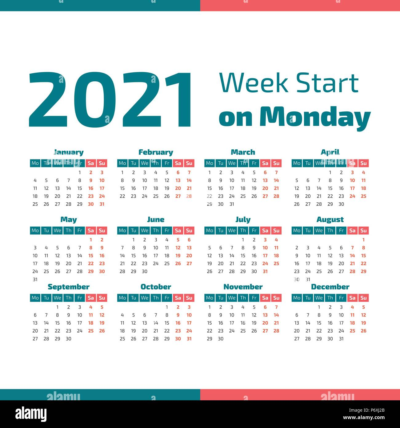 Simple 2021 year calendar, week starts on Monday Stock Vector