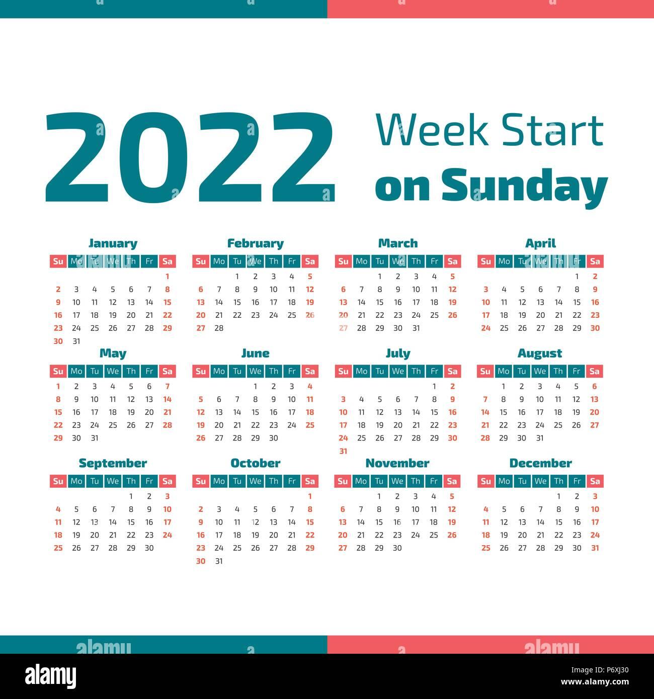 2022 Calendar With Weeks.Simple 2022 Year Calendar Week Starts On Sunday Stock Vector Image Art Alamy