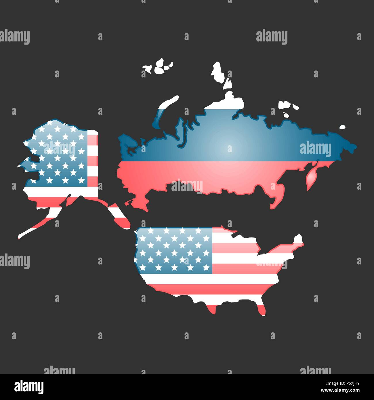 USA and Russia countries maps with their flags Stock Vector Art ...